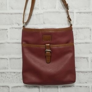 Roots Pebbled Burgundy Crossbody Purse